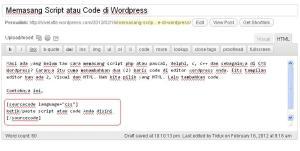 PASANG HTML DI WP